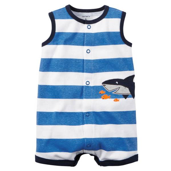Baby Boy's Blue Snap-Up Striped Romper