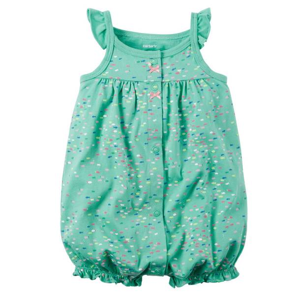 Baby Girl's Turquoise Snap-Up Printed Romper
