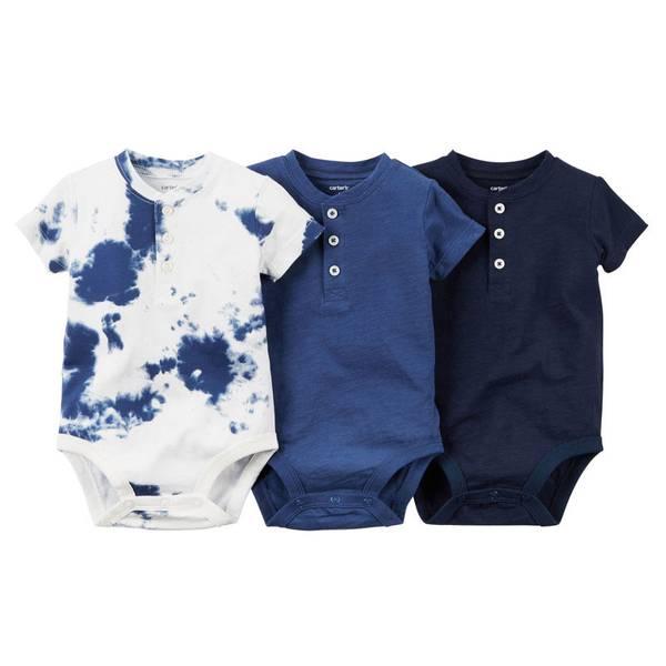 Baby Boy's Navy & White Bodysuit Set 3-Pack