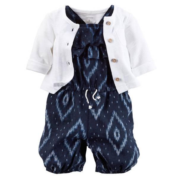 Infant Girl's White & Navy 2-Piece Romper Set
