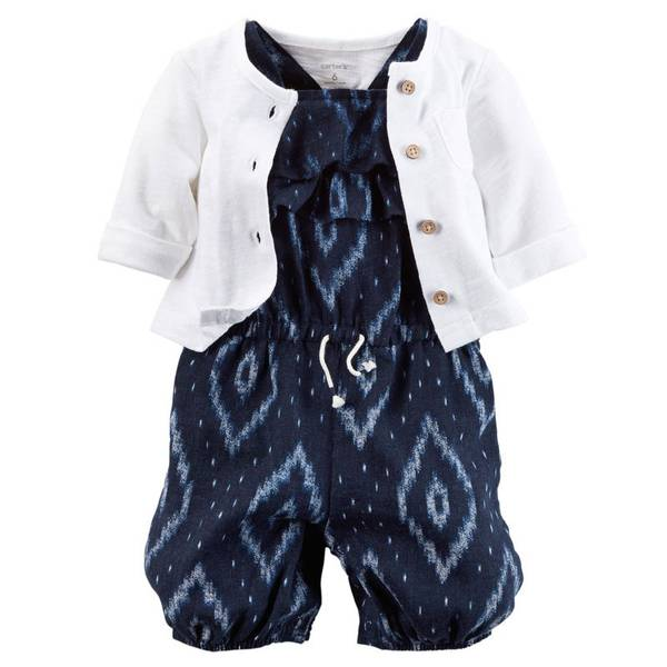 Baby Girl's White & Navy 2-Piece Romper Set