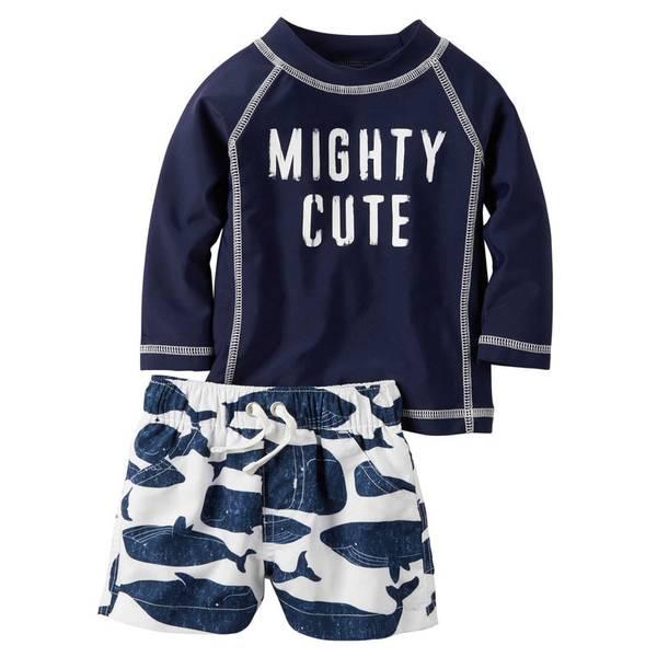 """Baby Boy's Navy & White """"Mighty Cute"""" 2-Piece Swim Set"""