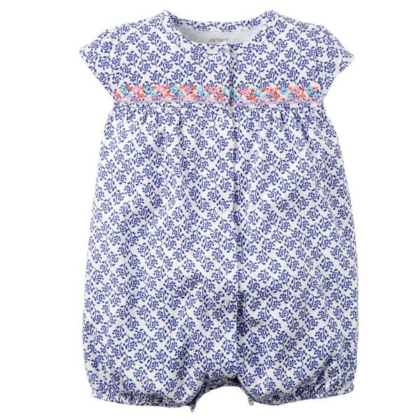 Baby Girl's Blue Snap-Up Printed Romper