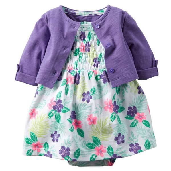 Baby Girl's Purple & Multi Colored 2-Piece Bodysuit Dress & Cardigan Set