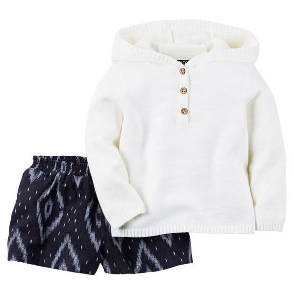 Infant Girl's White & Navy 2-Piece Hoodie Set