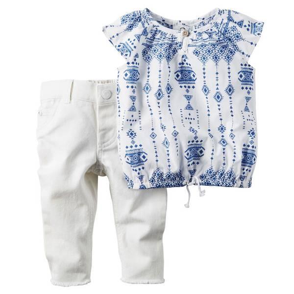 Infant Girl's White & Navy 2-Piece Denim Pant Set
