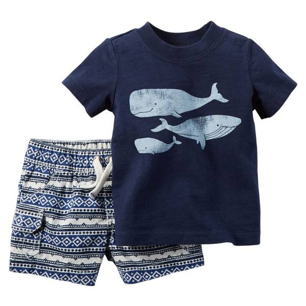 Baby Boy's Navy Whale 2-Piece Shorts & Tee Set