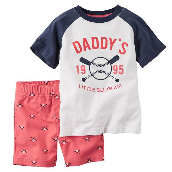 Baby Boy's White & Red Baseball 2-Piece Shorts & Tee Set
