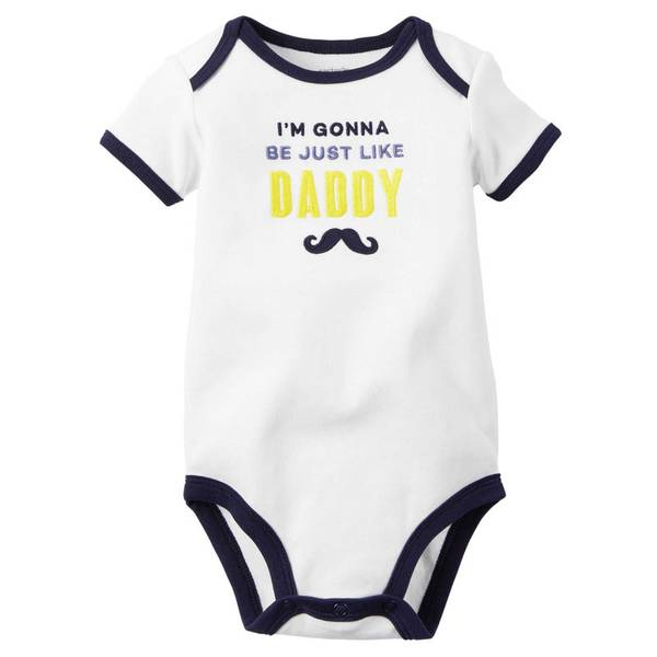 "Infant Boy's White ""Just Like Daddy"" Bodysuit"