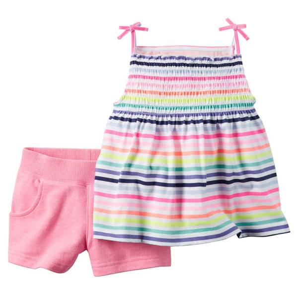 Infant Girl's Multi Colored 2-Piece Top & Shorts Set