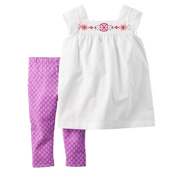 Baby Girl's White & Purple 2-Piece Top & Legging Set