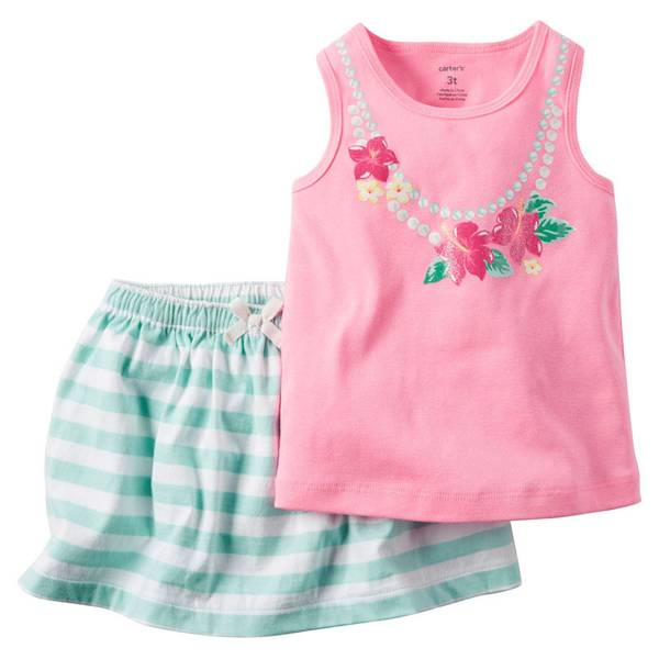 Infant Girl's Pink & Turquoise 2-Piece Skort & Tank Set
