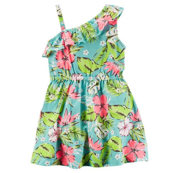 Girls'  Printed Ruffle Jersey Dress
