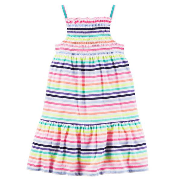 Girls'  & White Smocked Jersey Dress