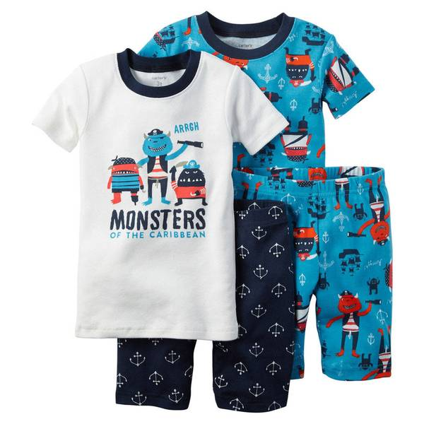 Infant Boy's Blue & Turqoise & White 4-Piece Snug Fit Cotton Pajamas
