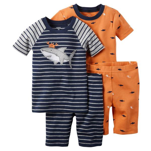 Boys'  & Orange 4-Piece Snug Fit Cotton Pajamas