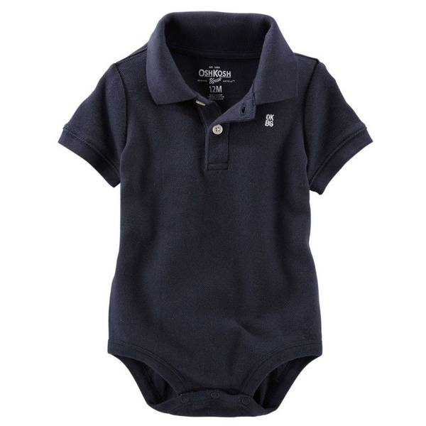 Infant Boy's Navy Pique Polo Bodysuit