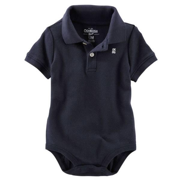 Baby Boy's Navy Pique Polo Bodysuit