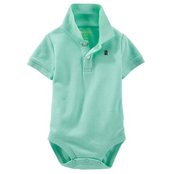 Infant Boy's Green Pique Polo Bodysuit