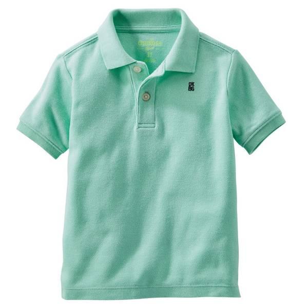 Toddler Boys' Green Pique Polo