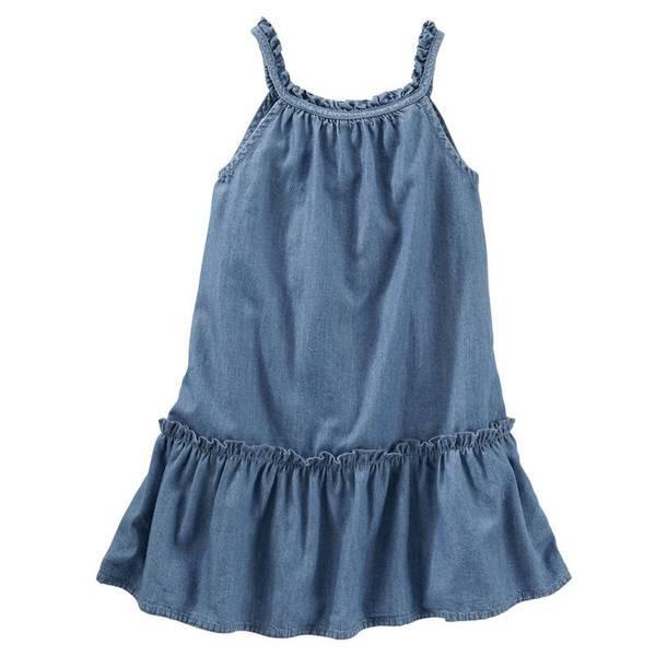 Girls' Chambray Drop-Waist Dress