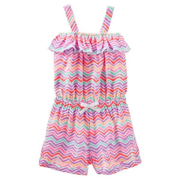 Toddler Girls' Multi Colored Chevron  Ruffle Romper