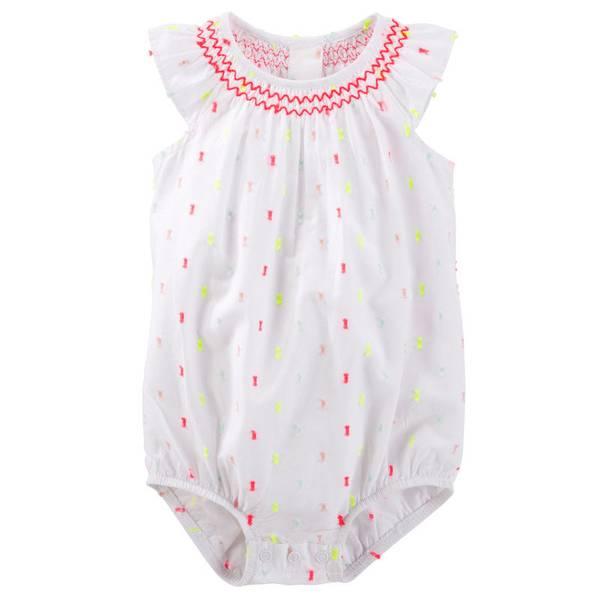 Infant Girl's White Smocked Swiss Dot Bodysuit