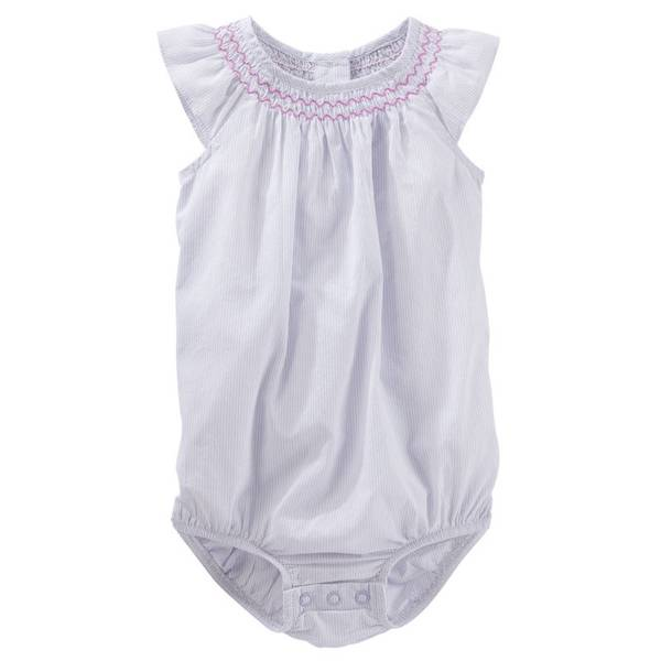 Infant Girl's Purple Smocked Poplin Bodysuit
