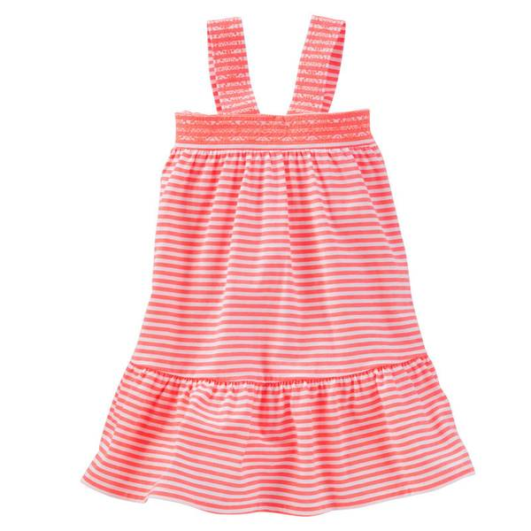 Toddler Girls' Neon Striped Drop-Waist Dress