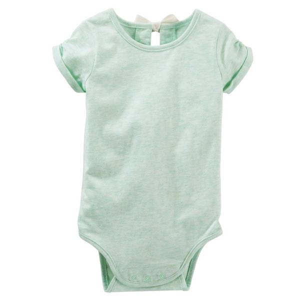 Baby Girl's Green Bow-Back Bodysuit