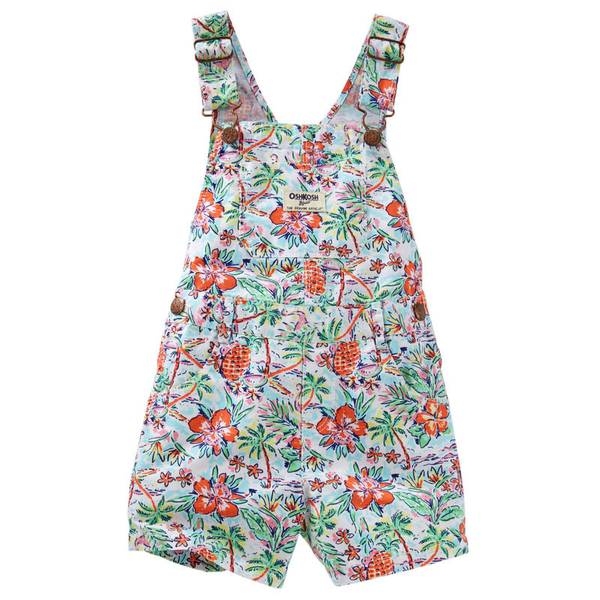 Infant Girl's Multi Colored Tropical Print Twill Shortalls