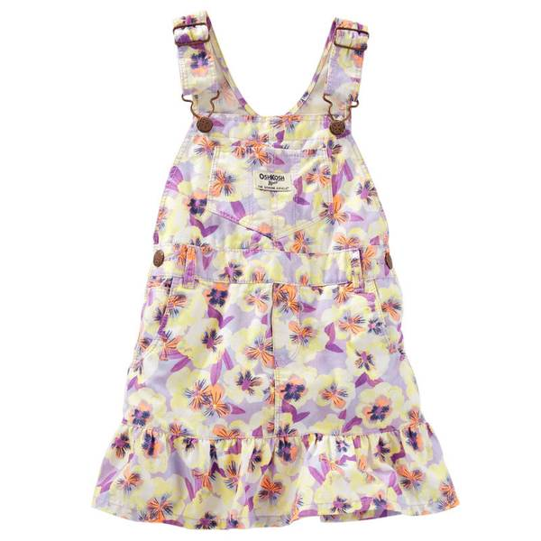 Baby Girl's Floral Ruffle-Hem Twill Jumpe