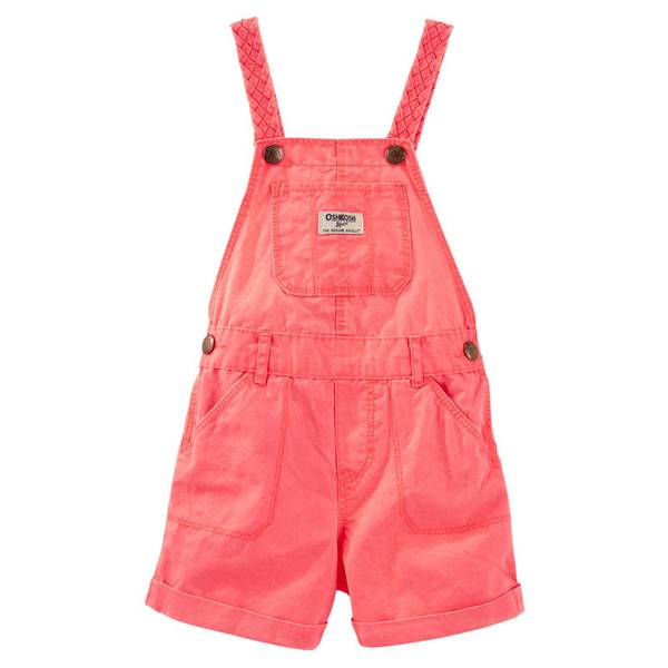 Infant Girl's Coral Twill Pre-washed Shortalls