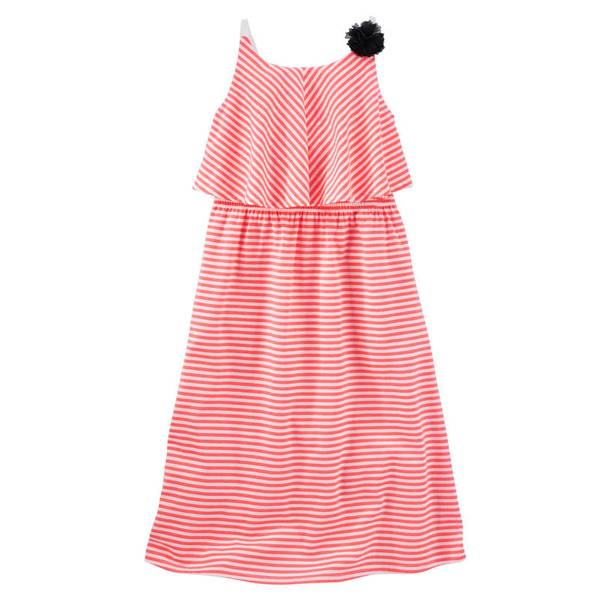 Girls' Neon Striped Overlay Maxi Dress