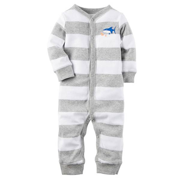 Baby Boys' Gray & White Shark Footless Sleep & Play