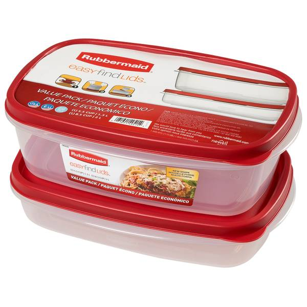 Rubbermaid 55 Cup And 85 Cup Easy Find Lids Containers Value Pack