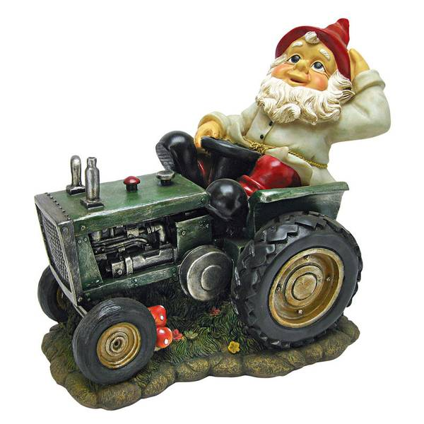 Plowing Pete Gnome On Tractor Garden Statue