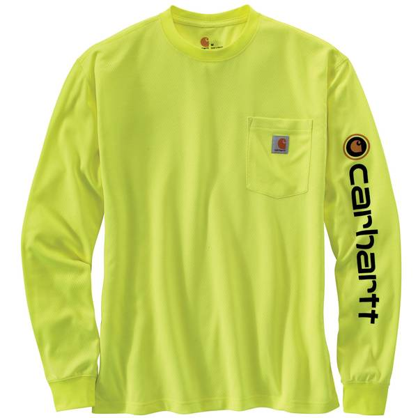 Men's Lime Green Long Sleeve Force Color Enhance Logo T-Shirt
