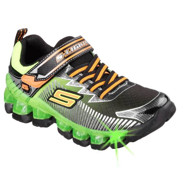 skechers boys black lime flashpod scoria shoes