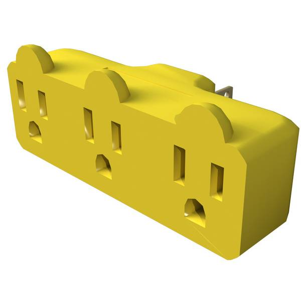 Heavy Duty Triple Tap Grounded 3-Outlet Adapter