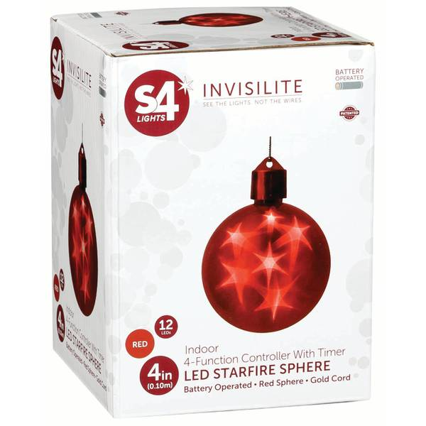 """Red Battery-Operated 4"""" LED Starfire Sphere"""