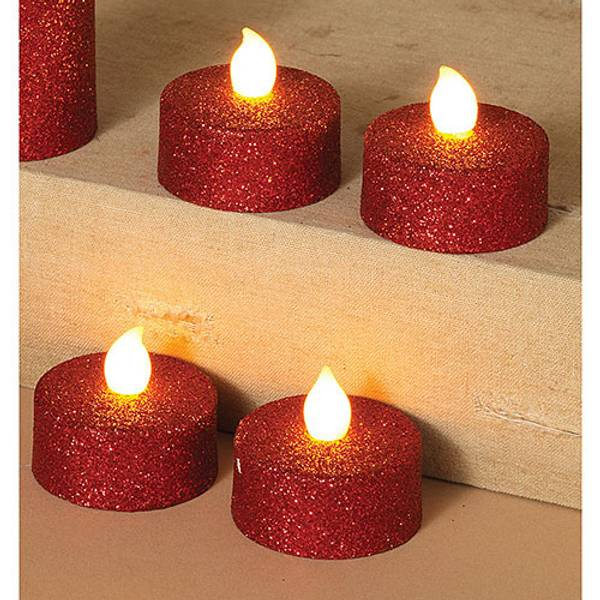 Red Battery Operated Value LED Tea Lights with Glitter