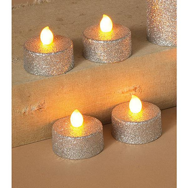 Silver Battery Operated Value LED Tea Lights with Glitter