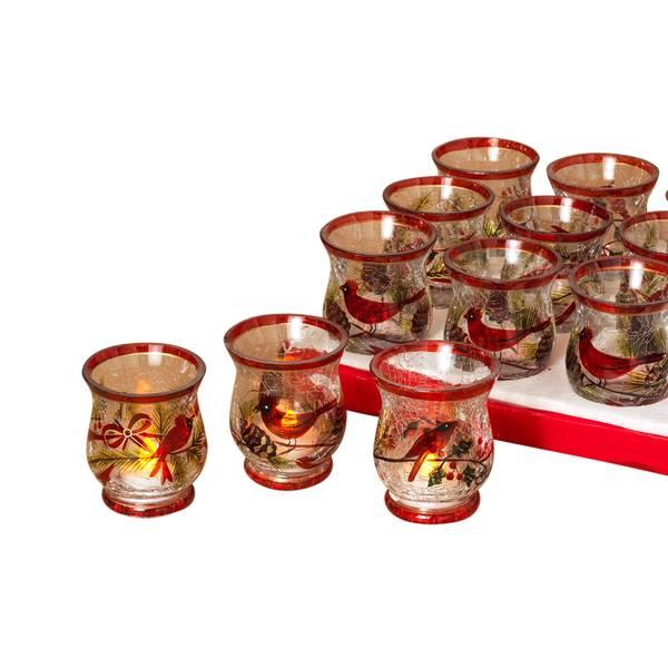 Cardinal Crackle Glass Candle Holder Assortment