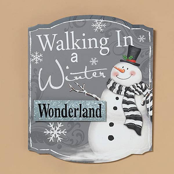 Gerson international 13 walking in winter snowman wall decor for Decor products international