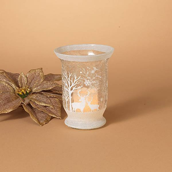 "6"" Crackle Glass Hurricane Candle Holder"