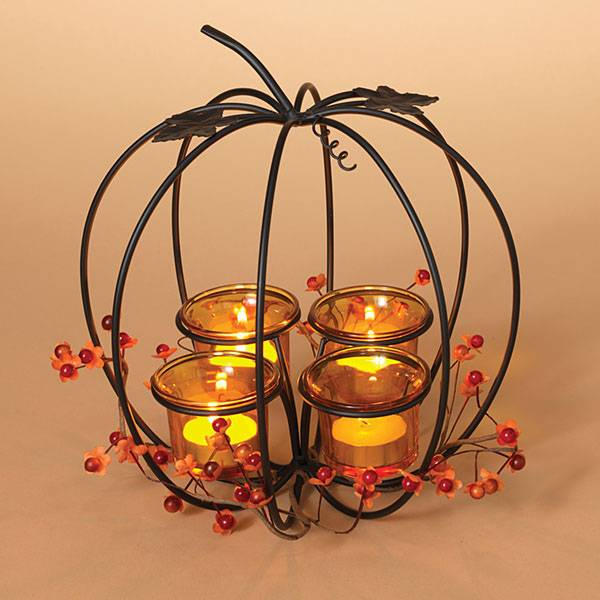 "10"" Pumpkin Tea Light Candle Holder"