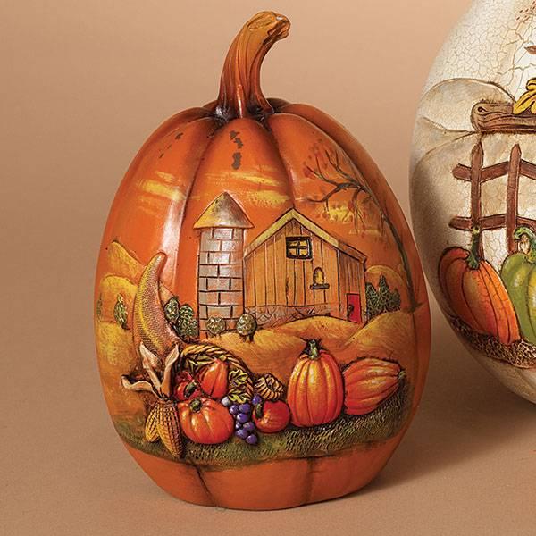Carved Pumpkin Harvest Statuette