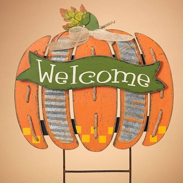 Wood Welcome Pumpkin Yard Stake