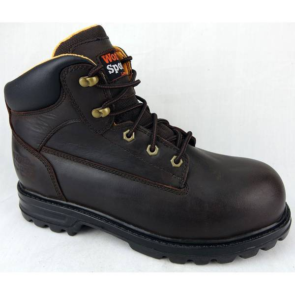"Men's Brown 6"" Steel Toe Work Hiker Boots"